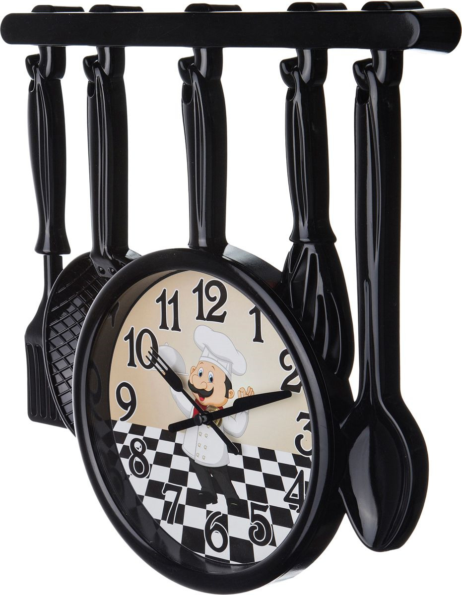 <b>Настенные часы Lefard Chef</b> Kitchen, 220-259, черный, 34 х 32 см ...