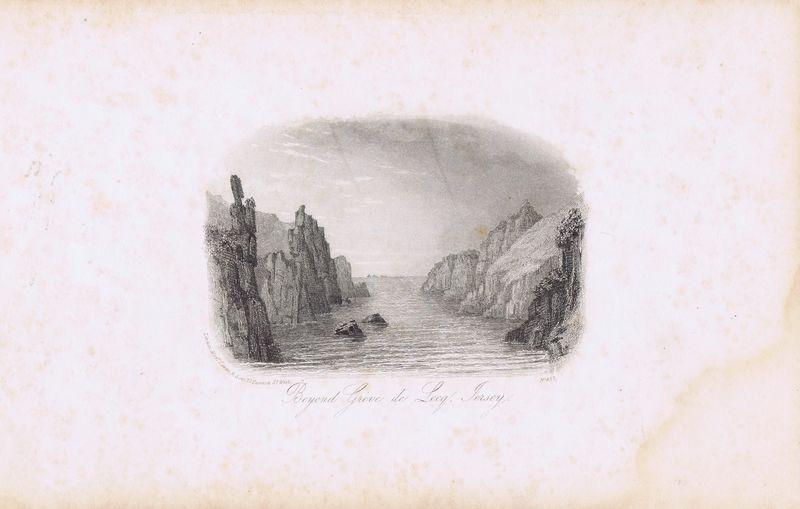 Гравюра Джон Харвуд Остров Джерси. По другую сторону от Греве-де-Лек. Офорт. Англия, Лондон, 1855 год цена