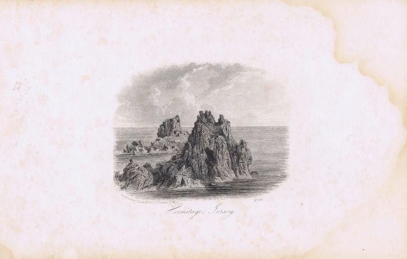 Гравюра Джон Харвуд Остров Джерси. Пустынь Святого Хелиера. Офорт. Англия, Лондон, 1855 год