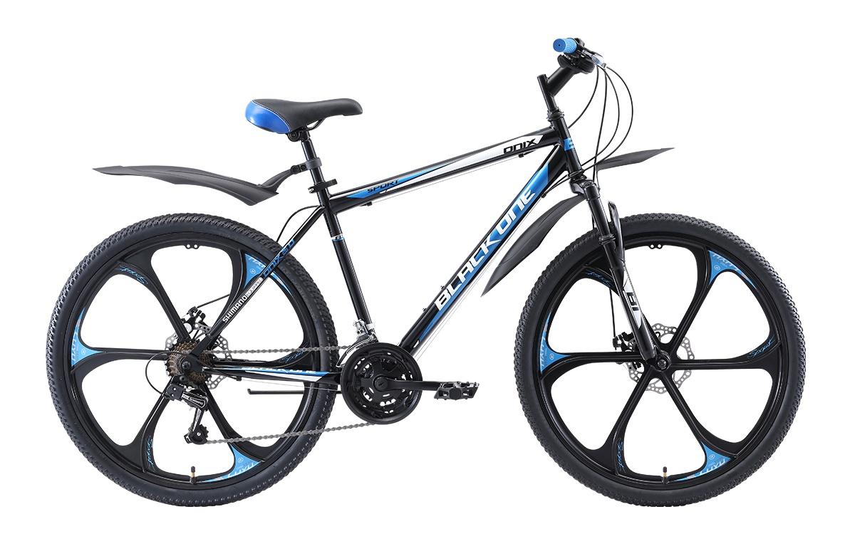 Велосипед Black One Onix 26 D FW, черный, голубой, серебристый
