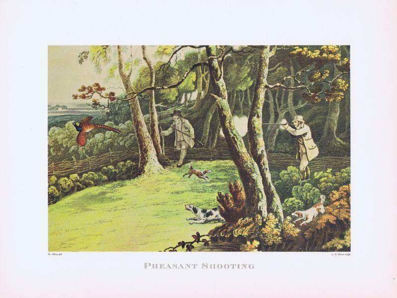 Гравюра Chene Англия. Охота на птиц (фазана). Офсетная литография. Франция, Париж, 1963 год будни и мечты гравюра автор майо франция 1977 год