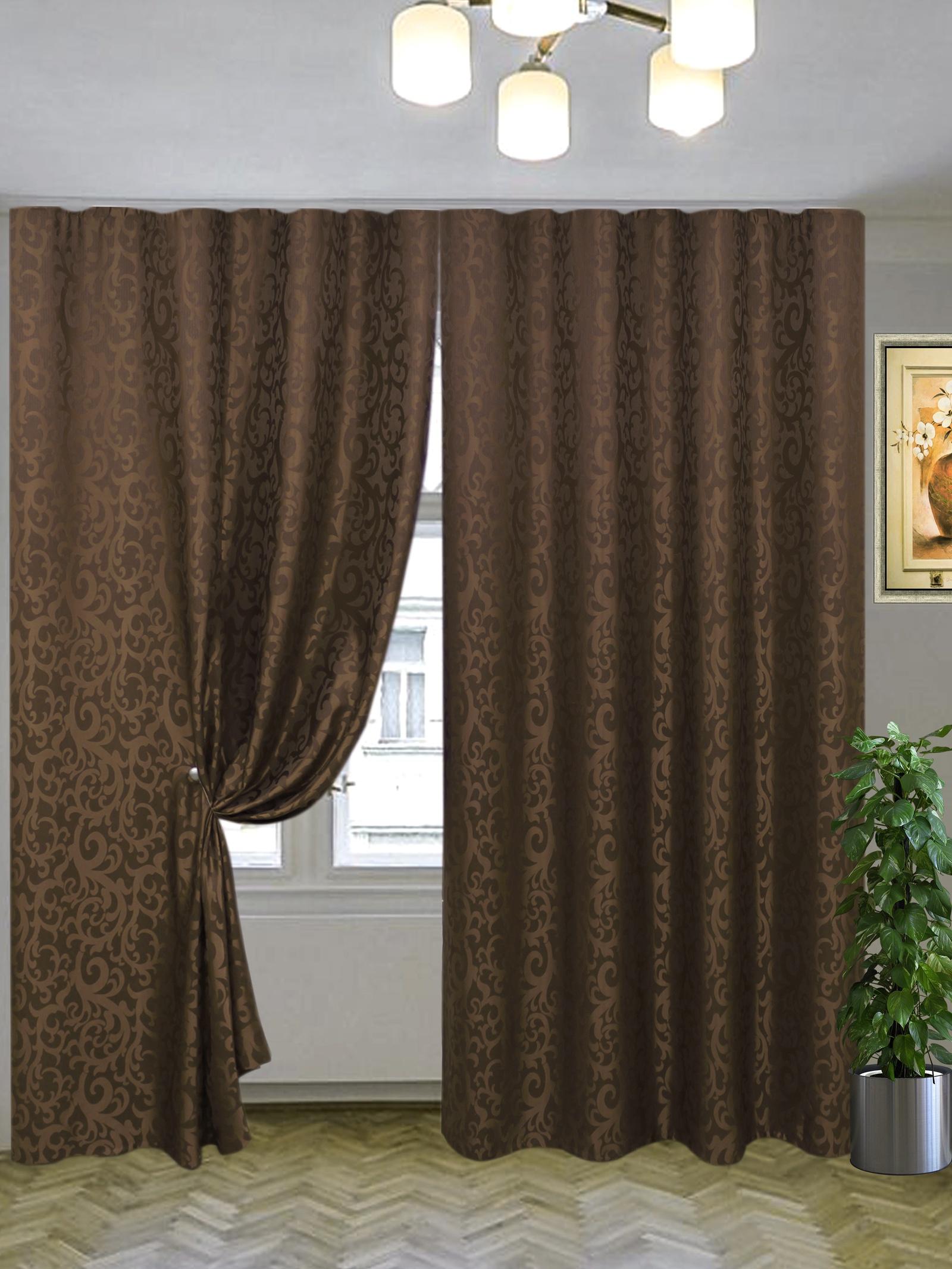 Комплект штор Текстиль.ру ТЕК-КШ-Эвелина-14-3*2,5-Т, темно-коричневый