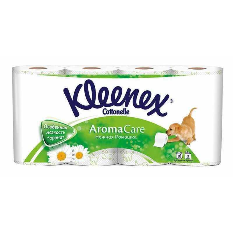 Туалетная бумага KLEENEX Нежная ромашка 3 слоя, 8рул, шт туалетная бумага kleenex natural care трехслойная цвет белый 8 рулонов