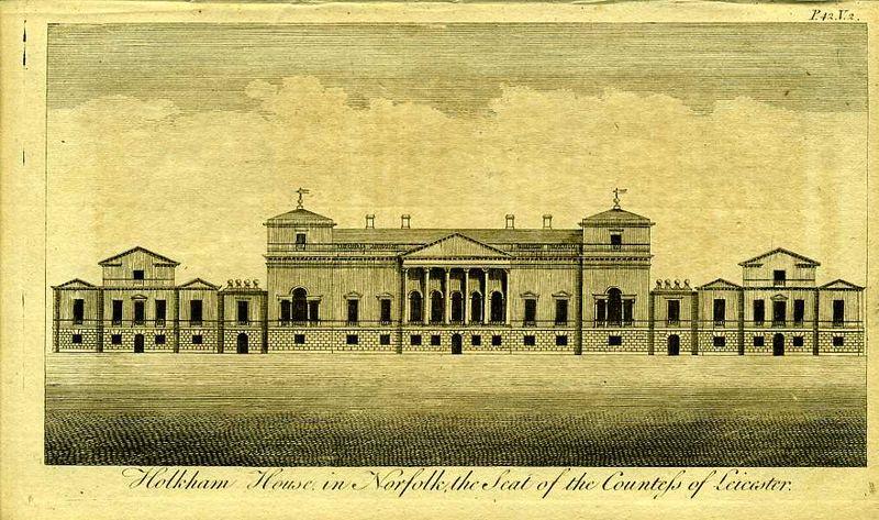 Гравюра Роберт Годби Англия. Холкхем-хаус в Норфолке, резиденция графини Лестер. Резцовая гравюра. Англия, Лондон, 1776 год англия гансбери хаус резиденция принцессы амелии резцовая гравюра англия лондон 1776 год