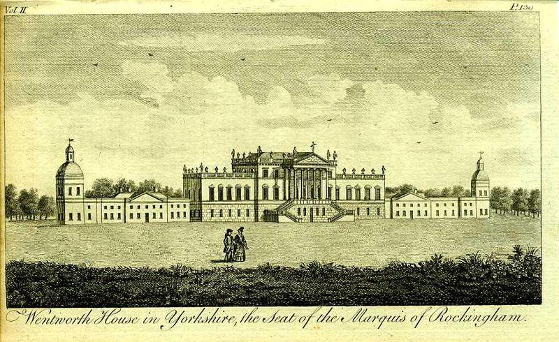 Гравюра Роберт Годби Англия. Уэнтворт Хаус, поместье маркиза Рокингема. Резцовая гравюра. Англия, Лондон, 1776 год англия гансбери хаус резиденция принцессы амелии резцовая гравюра англия лондон 1776 год
