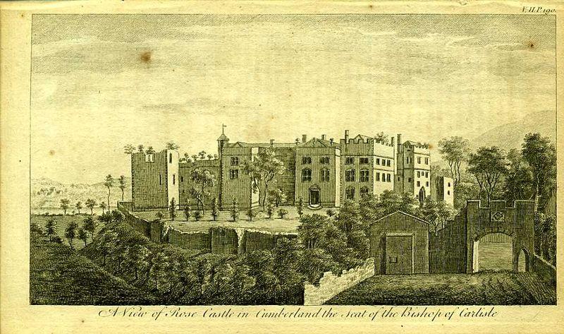 Гравюра Роберт Годби Англия. Замок Роуз, резиденция епископа Карлайла. Резцовая гравюра. Англия, Лондон, 1776 год англия гансбери хаус резиденция принцессы амелии резцовая гравюра англия лондон 1776 год