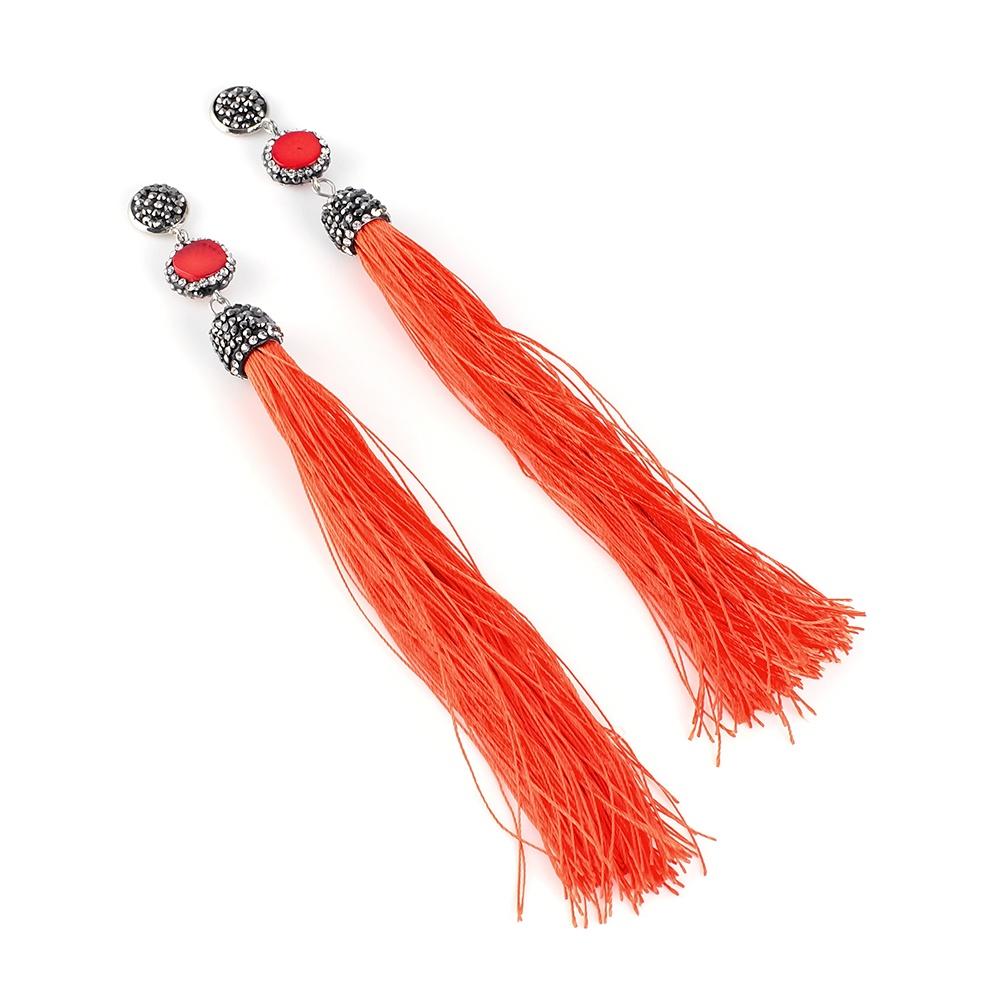 Серьги бижутерные Selena 20104830, Кристаллы Swarovski, красный, оранжевый