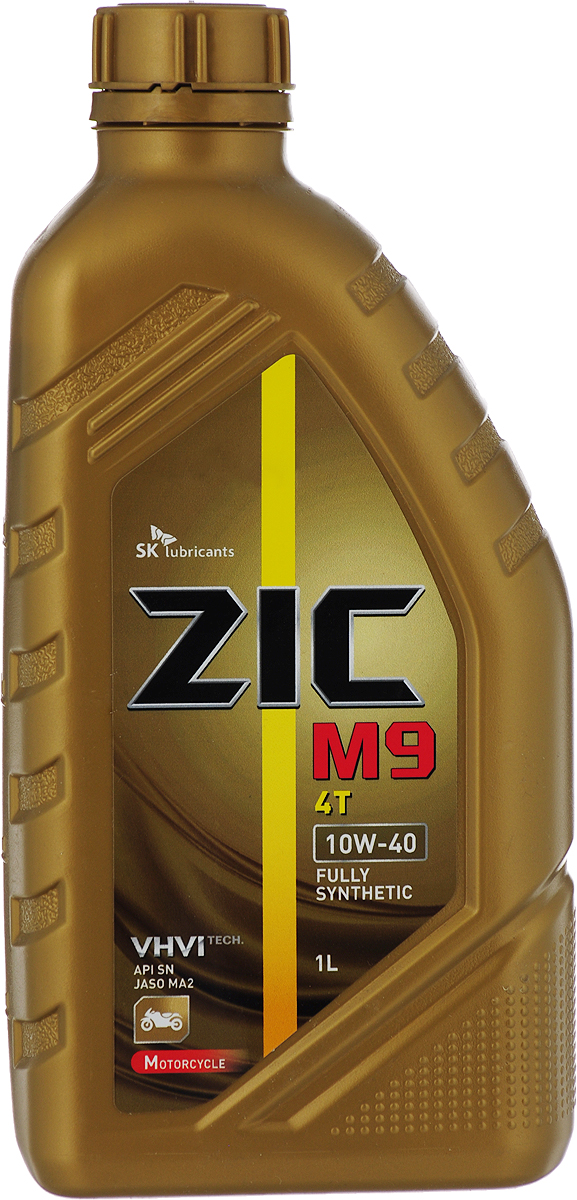 Масло моторное ZIC M9 4Т, синтетическое, класс вязкости 10W-40, API SN, 1 л. 137210 m9 40
