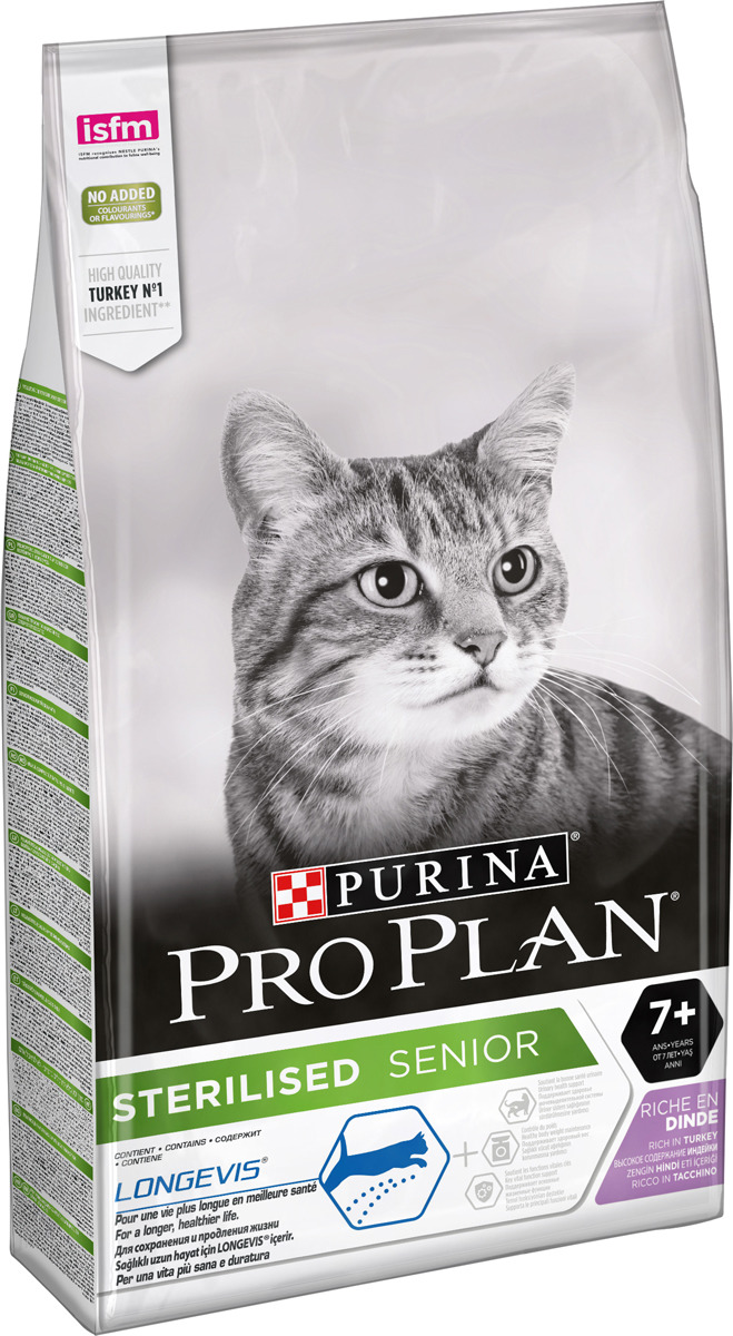 """Корм сухой Pro Plan """"Sterilised"""" для стерилизованных кошек и кастрированных котов старше 7 лет, с индейкой, 10 кг"""