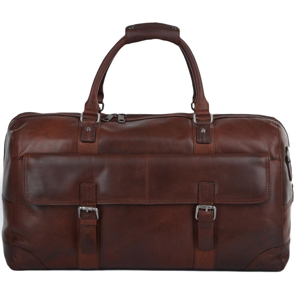Сумка дорожная Ashwood Leather Francis, коричнево-красный