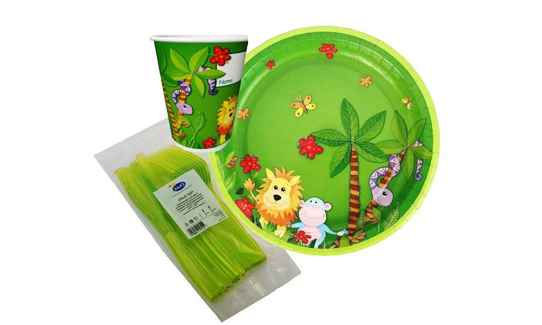 Набор одноразовой посуды детский на 10 персон Джунгли яркий, красочный, праздничный, 40 предметов: стаканы, тарелки, вилки, ножи, детская посуда для праздников, влагостойкий картон пищевой, Paclan Россия paclan party набор для пикника на 6 персон тарелки 170мм 6шт стаканы 200мл 6шт вилки 6шт
