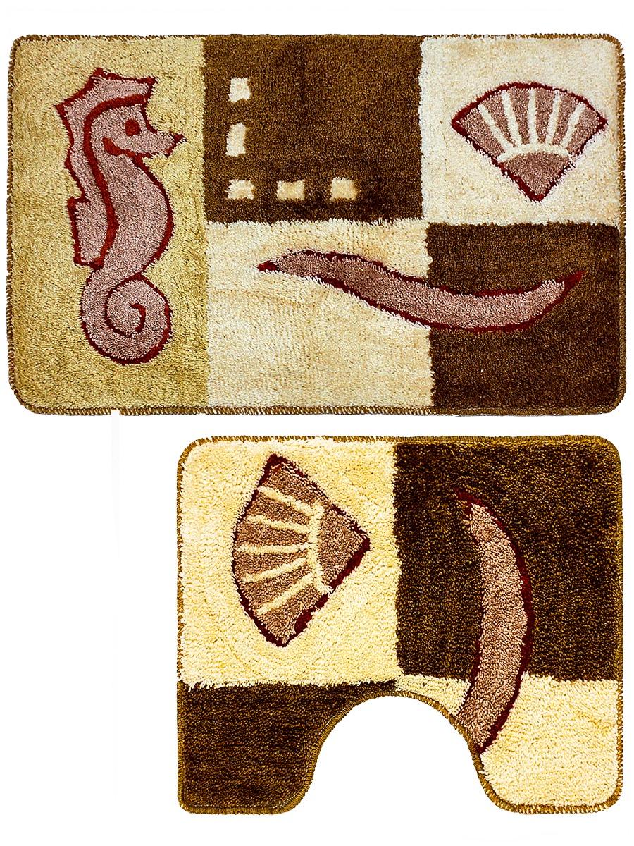 Набор ковриков для ванной mr. Penguin RGS202K/2, коричневый