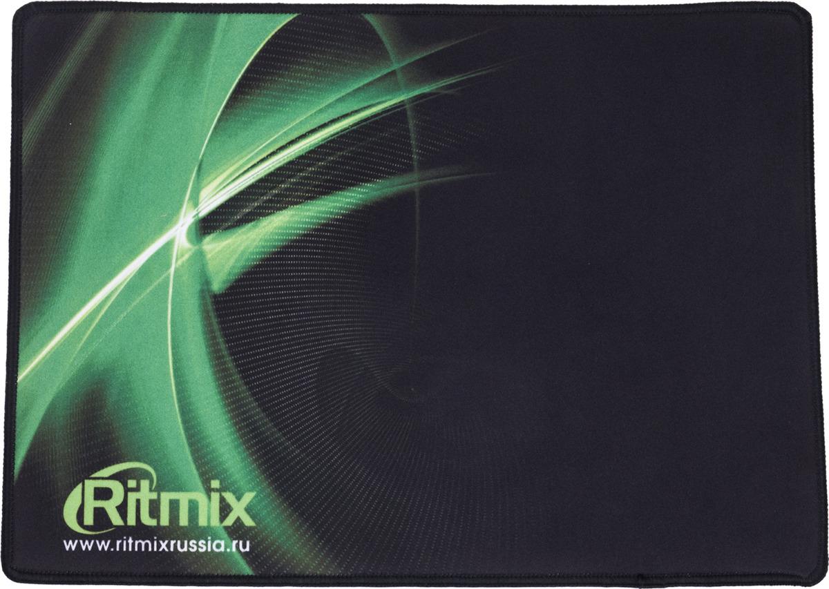Коврик для мыши Ritmix MPD-055 Gaming, черный, зеленый коврик для мыши ritmix mpd 020 action