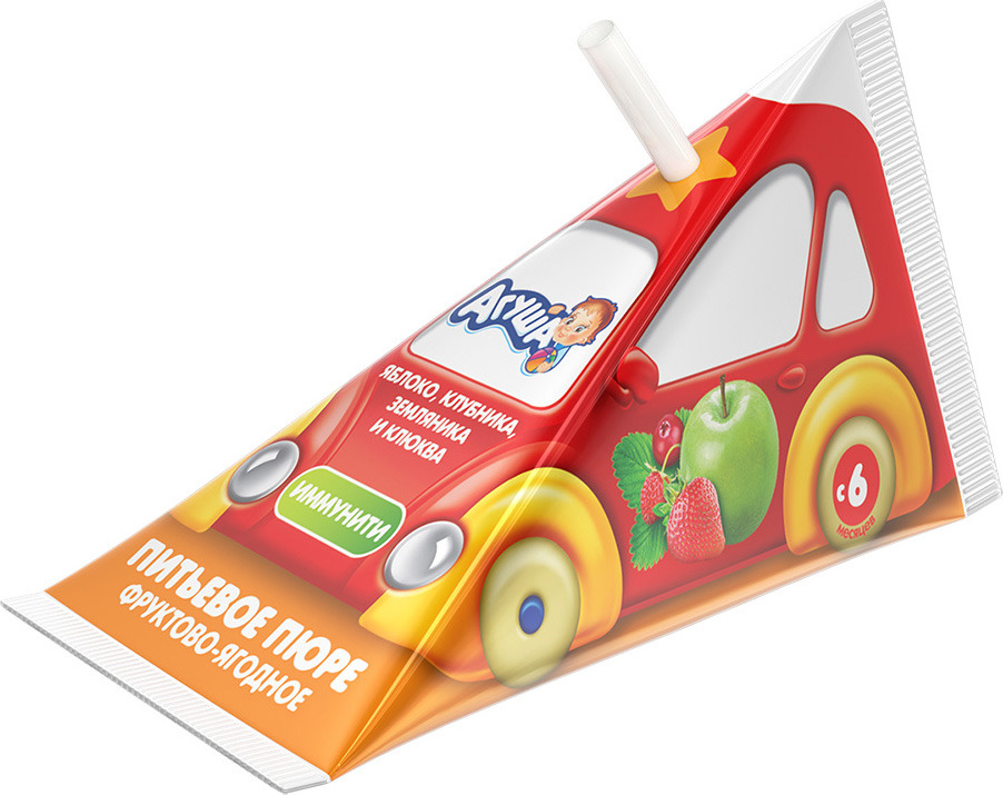 Пюре для детей Агуша Фруктово-ягодное, с яблоком, клубникой, земляникой, клюквой, 65 мл