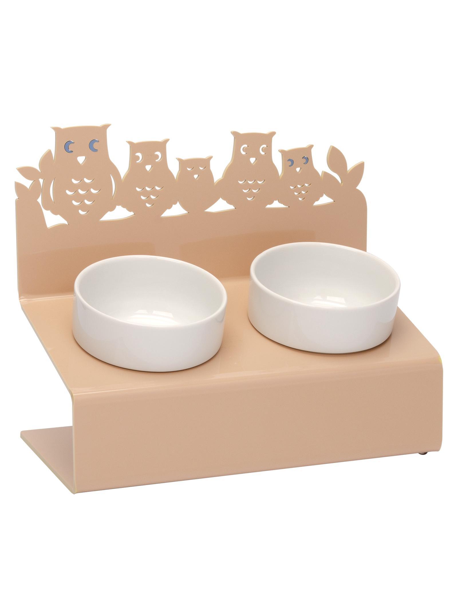 Миска для животных Artmiska Совы двойная XS, кремовый миска artmiska совы двойная на подставке для животных 2 х 360 мл коричневый