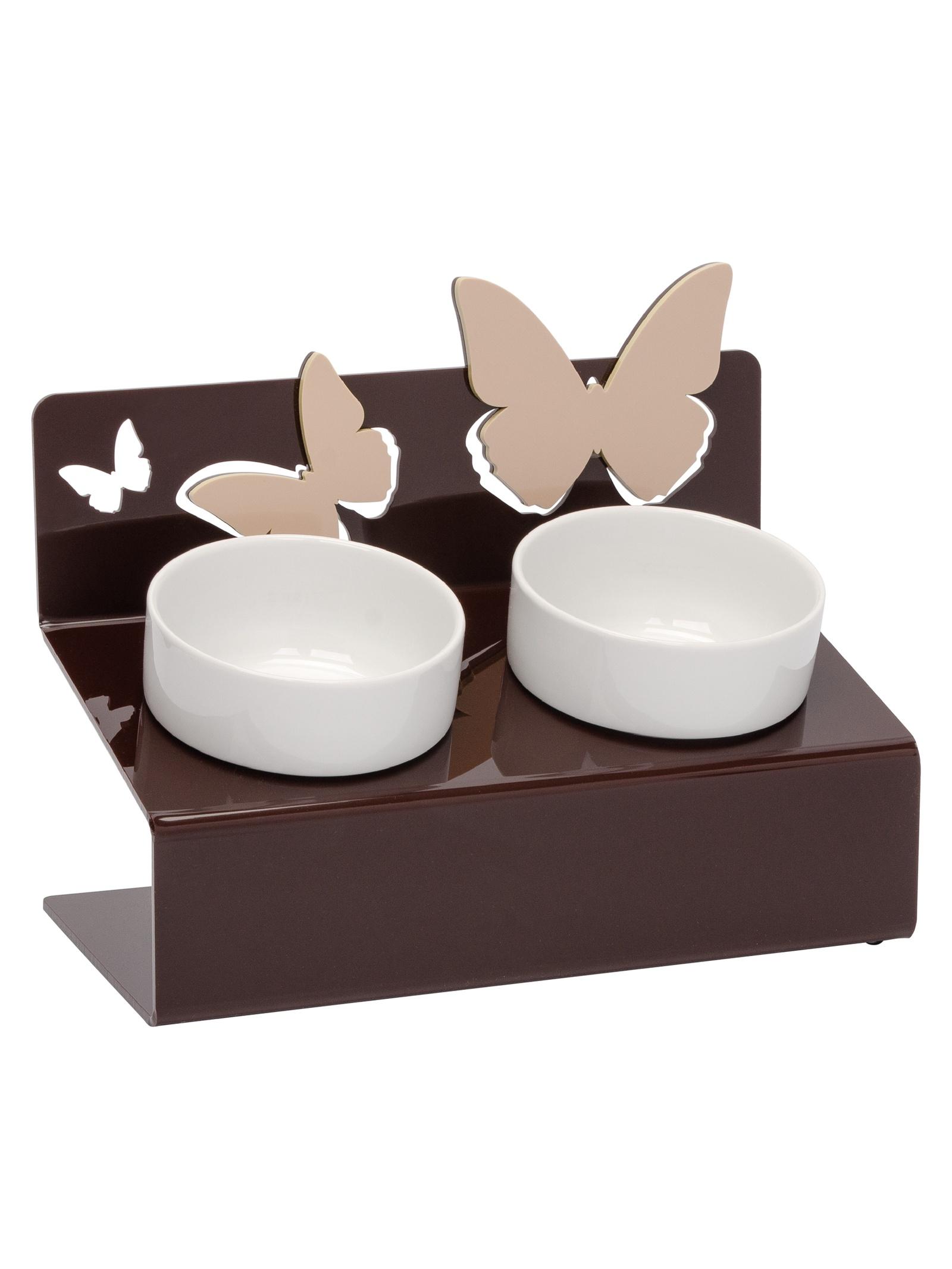 Миска для животных Artmiska Бабочки двойная XS, коричневый артмиска миска для животных artmiska кот и рыбы двойная на подставке кремовая 2 шт x 350 мл