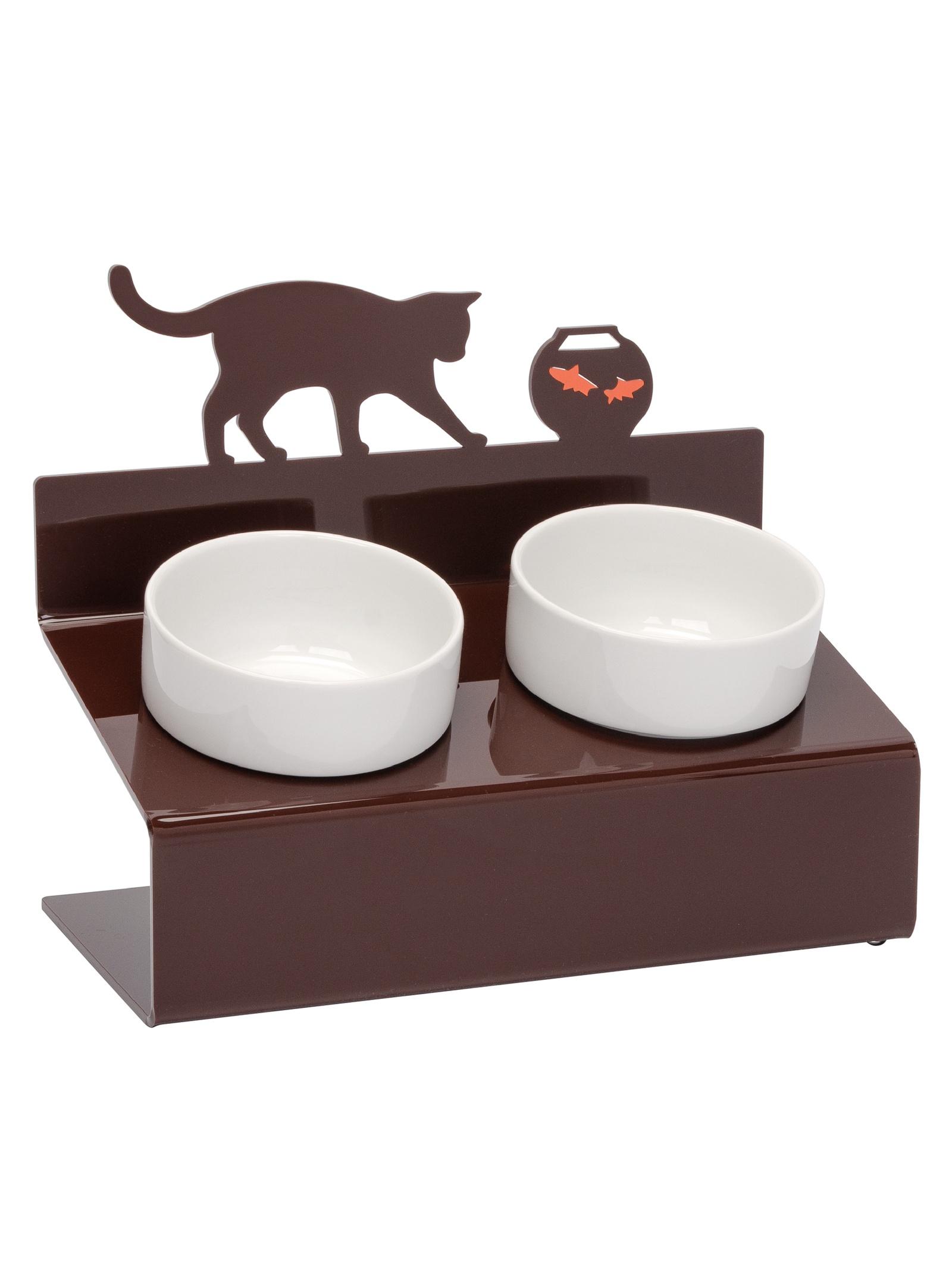 Миска для животных Artmiska Кот и рыбы двойная XS, коричневый артмиска миска для животных artmiska кот и рыбы двойная на подставке кремовая 2 шт x 350 мл