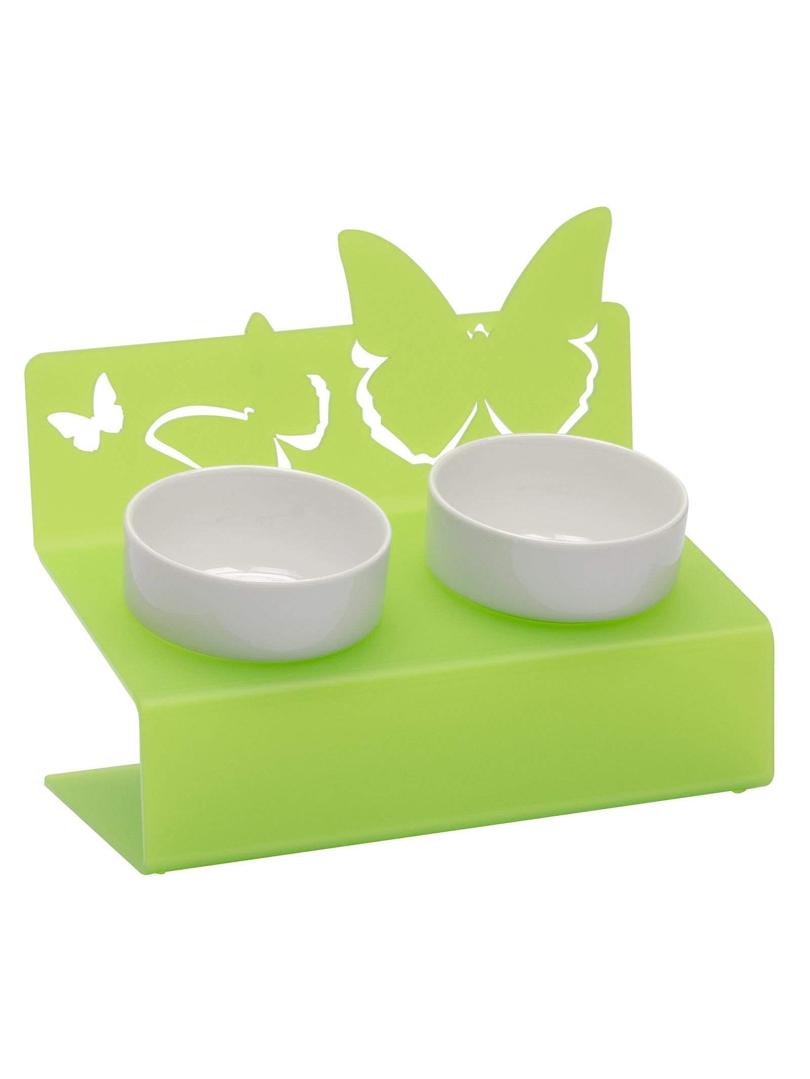 """Миска для животных Artmiska """"Бабочки"""" двойная XS, салатовый"""