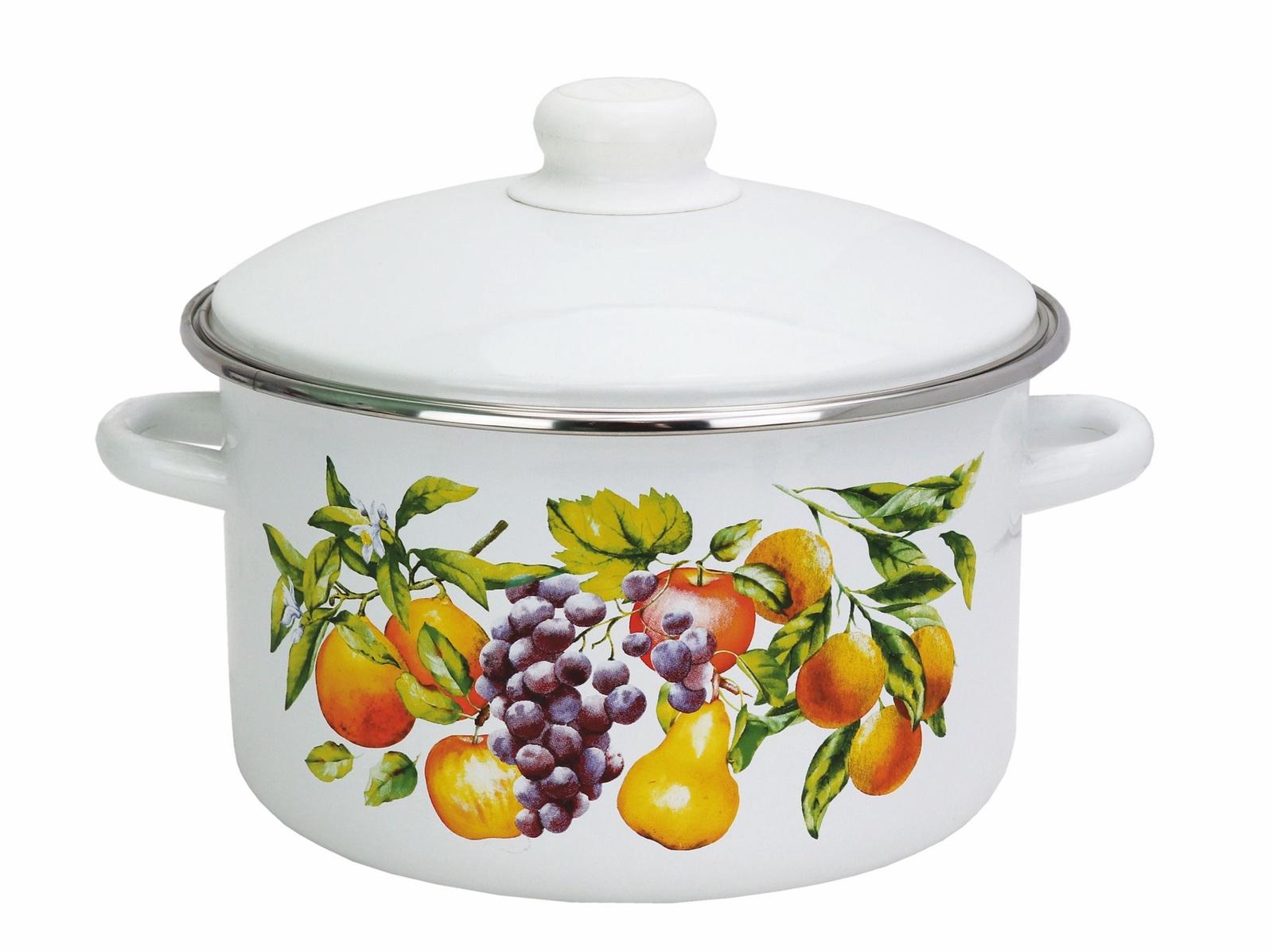 Фото - Кастрюля Эмаль Фрукты, 2 литра с металлической крышкой, белый посуда для приготовления пищи