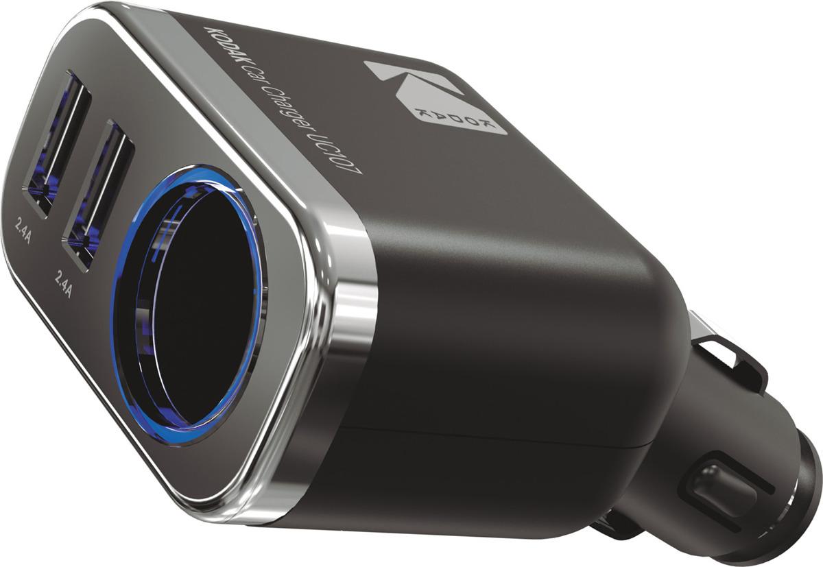 Автомобильное зарядное устройство Kodak, UC107, черный автомобильное зарядное устройство belkin f8j154bt04 blk usb 3 4a черный