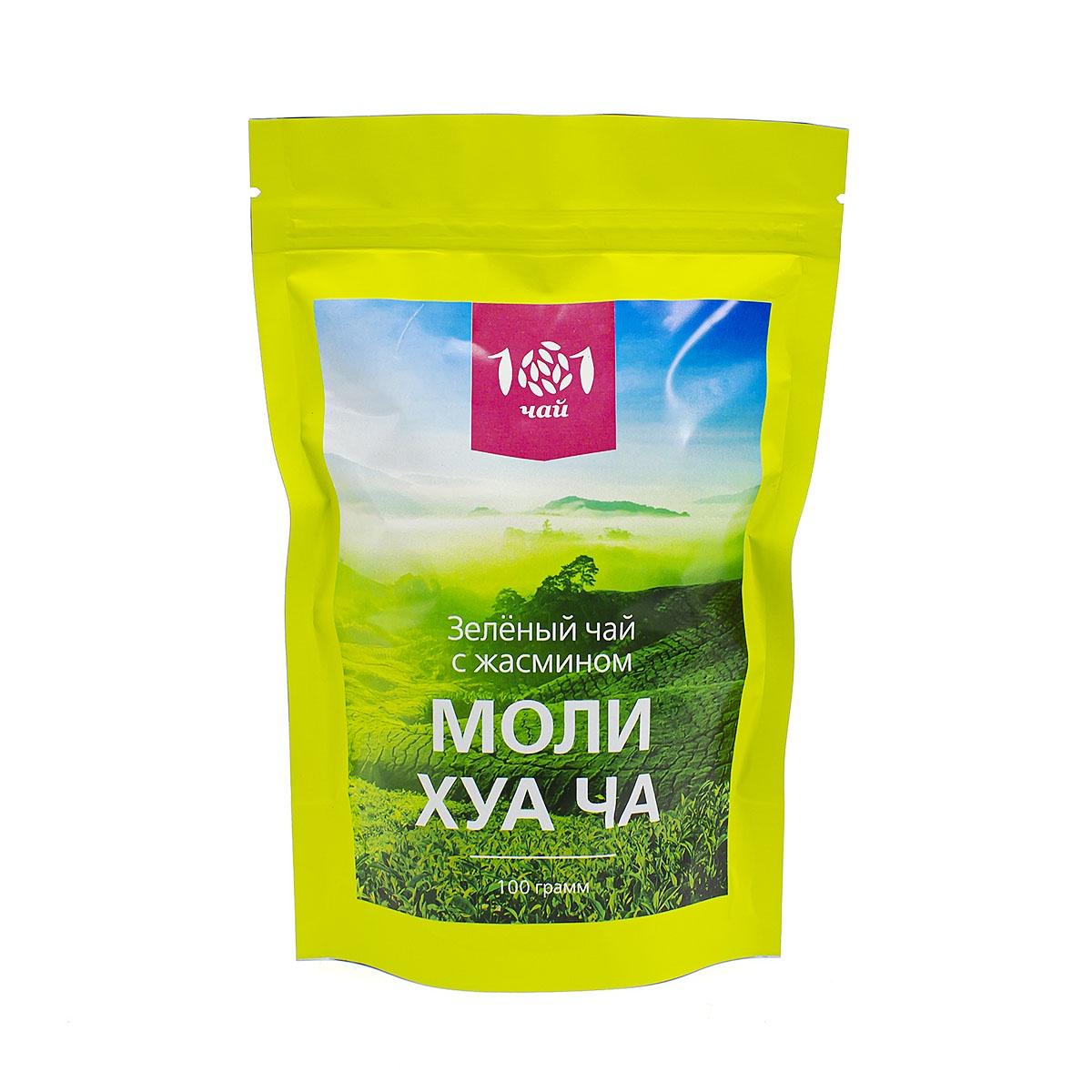 Чай листовой 101 чай зеленый Моли Хуа Ча (Классический с жасмином), 100 г сад дань чай травяной чай жасминовый чай жасминовый чай типпи 100г мешок
