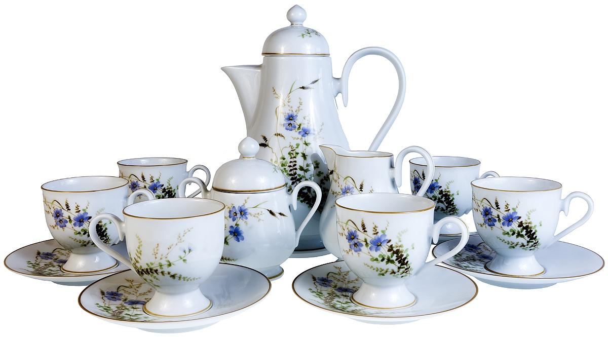"""Набор для чая Noritake Сервиз чайный """"Полевые цветы"""" на 6 персон, 15 предметов. Ирландия, вторая половина 20 века"""