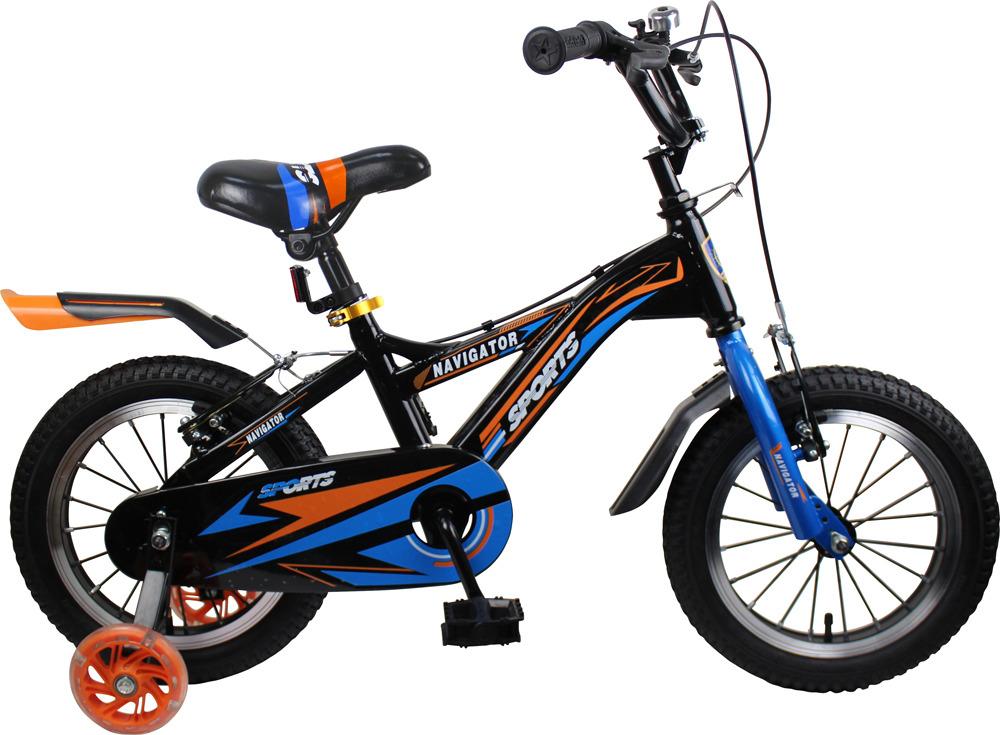 Велосипед детский Navigator Sport II, ВН14189, черный, синий, колесо 14 велосипед детский navigator hot wheels 14 1 скорость