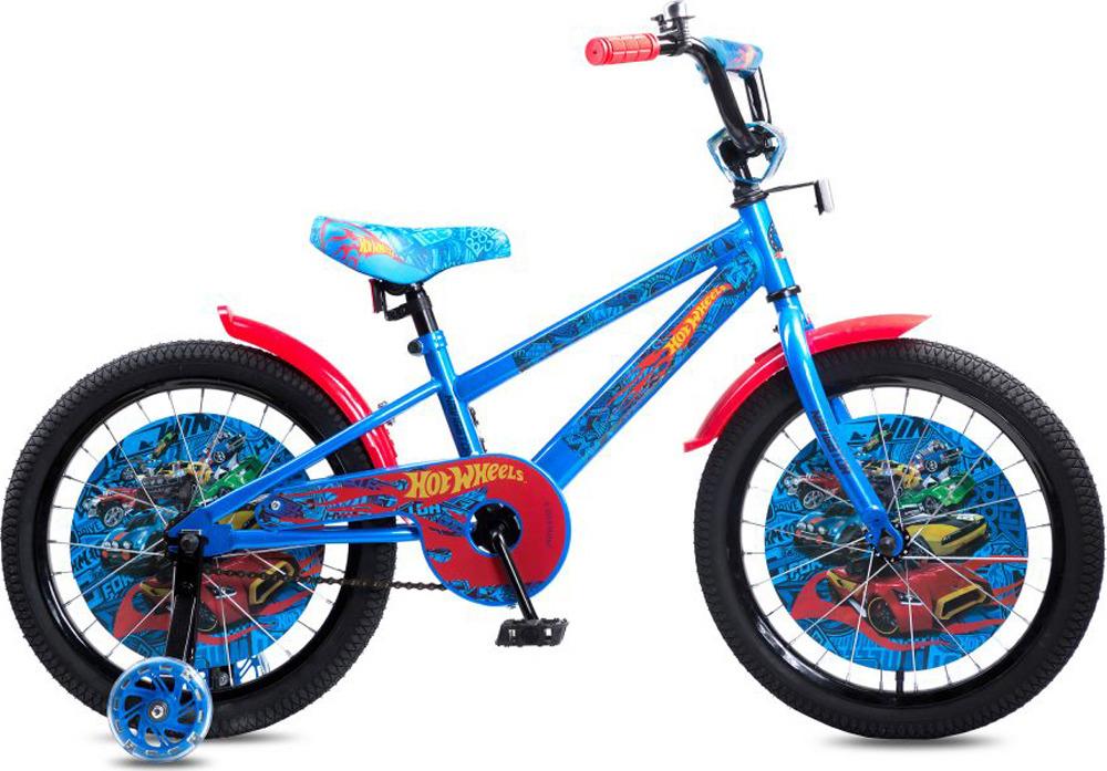 Велосипед детский Navigator Hot Wheels, ВН18102, красный, голубой, колесо 18 велосипед детский navigator hot wheels 14 1 скорость