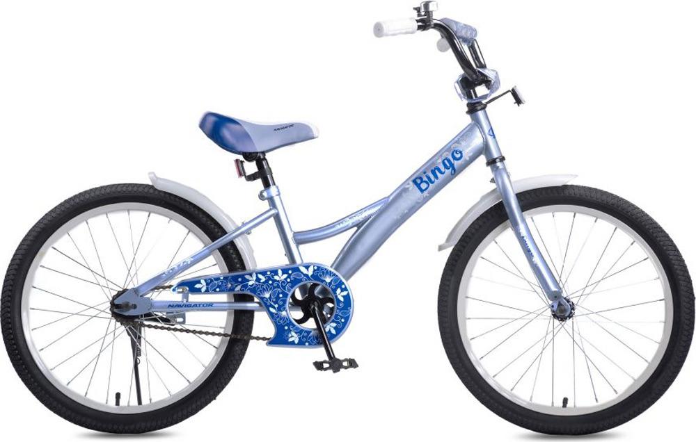 Велосипед детский Navigator Bingo, ВН20189, серый, голубой, колесо 20 велосипед детский navigator hot wheels 14 1 скорость
