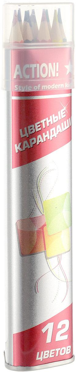 Набор карандашей Action!, ACP303-12, 12 цветов carioca набор смываемых восковых карандашей baby 8 цветов
