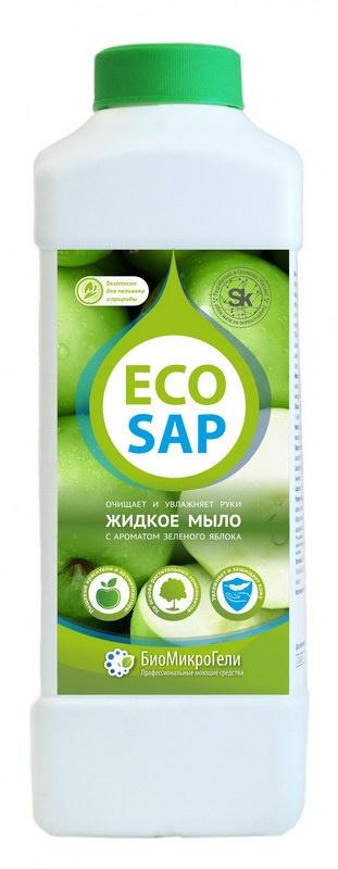 Мыло косметическое БиоМикроГели EcoSap Жидкое мыло для рук, зеленое яблоко, 1000 БиоМикроГели