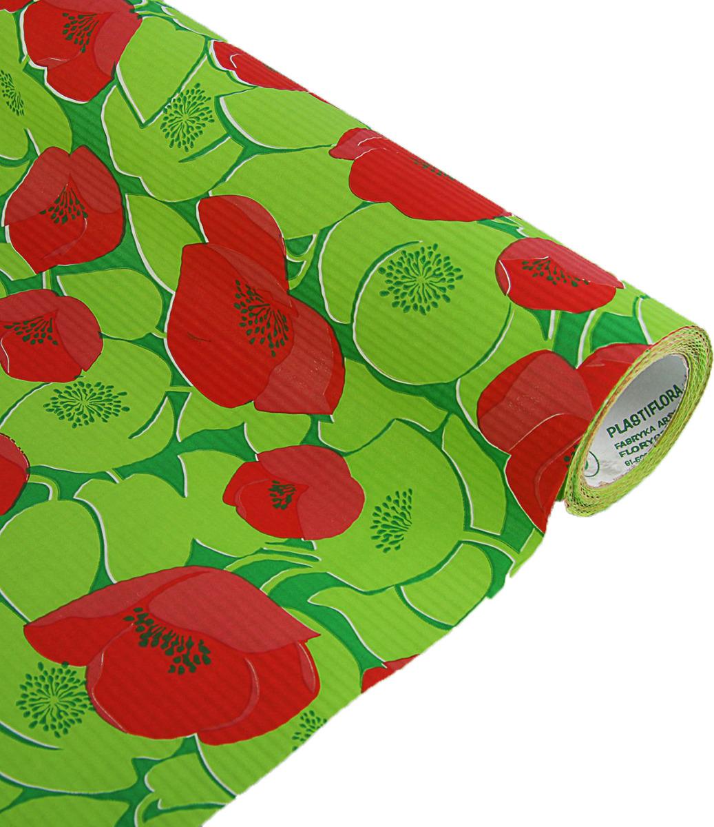 Бумага упаковочная Маки, 2321425, зеленый, красный, 0,5 х 10 м