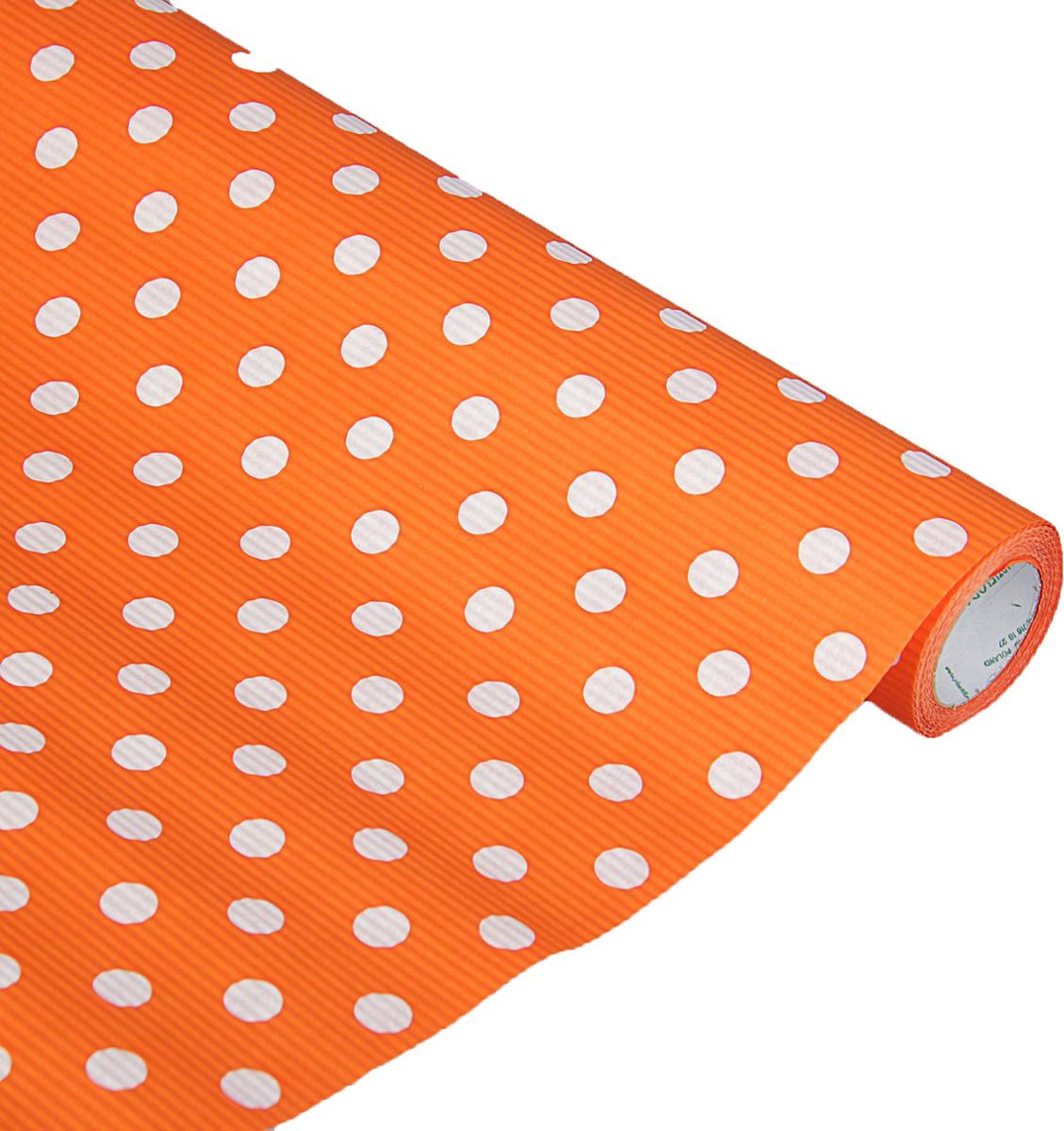Бумага упаковочная, 2626820, оранжевый, белый, 0,5 х 10 м