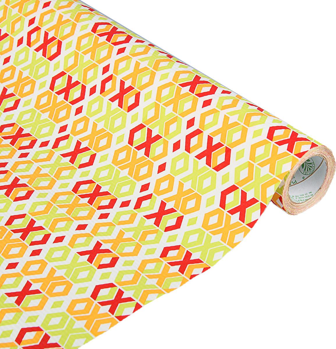 Бумага упаковочная, 3631606, белый, оранжевый, красный, 0,5 х 10 м