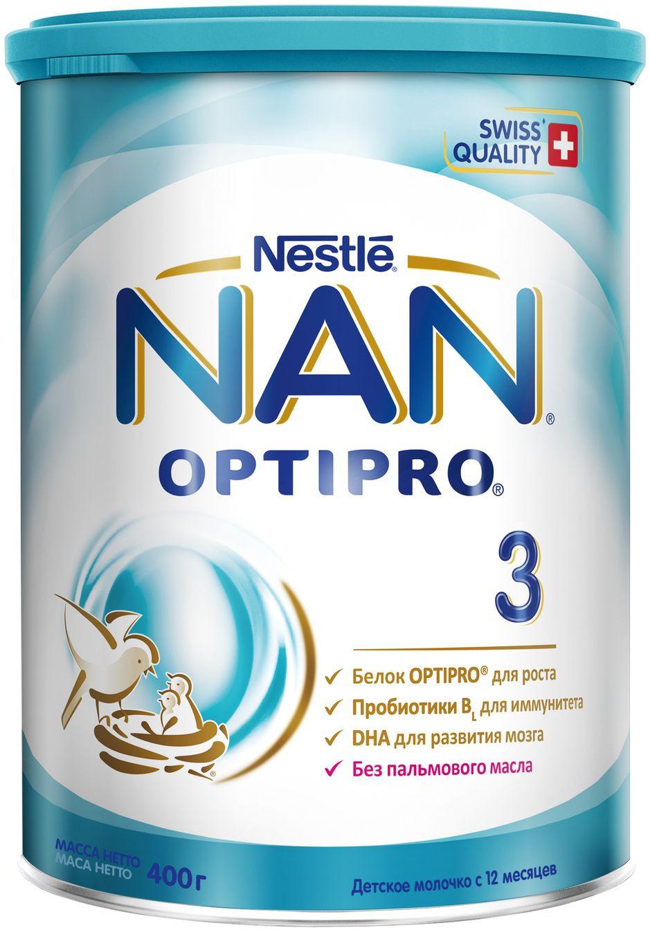NAN 3 OPTIPRO молочко, с 12 месяцев, 400 г