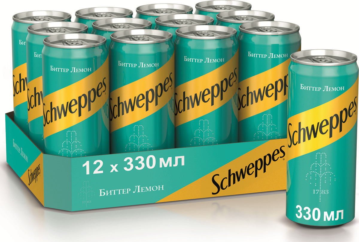 Газированный напиток Schweppes Bitter Lemon, 0,33 л х 12 шт