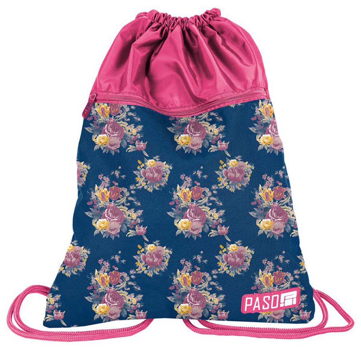 Сумка для сменной обуви PASO Flower pink, розовый, синий