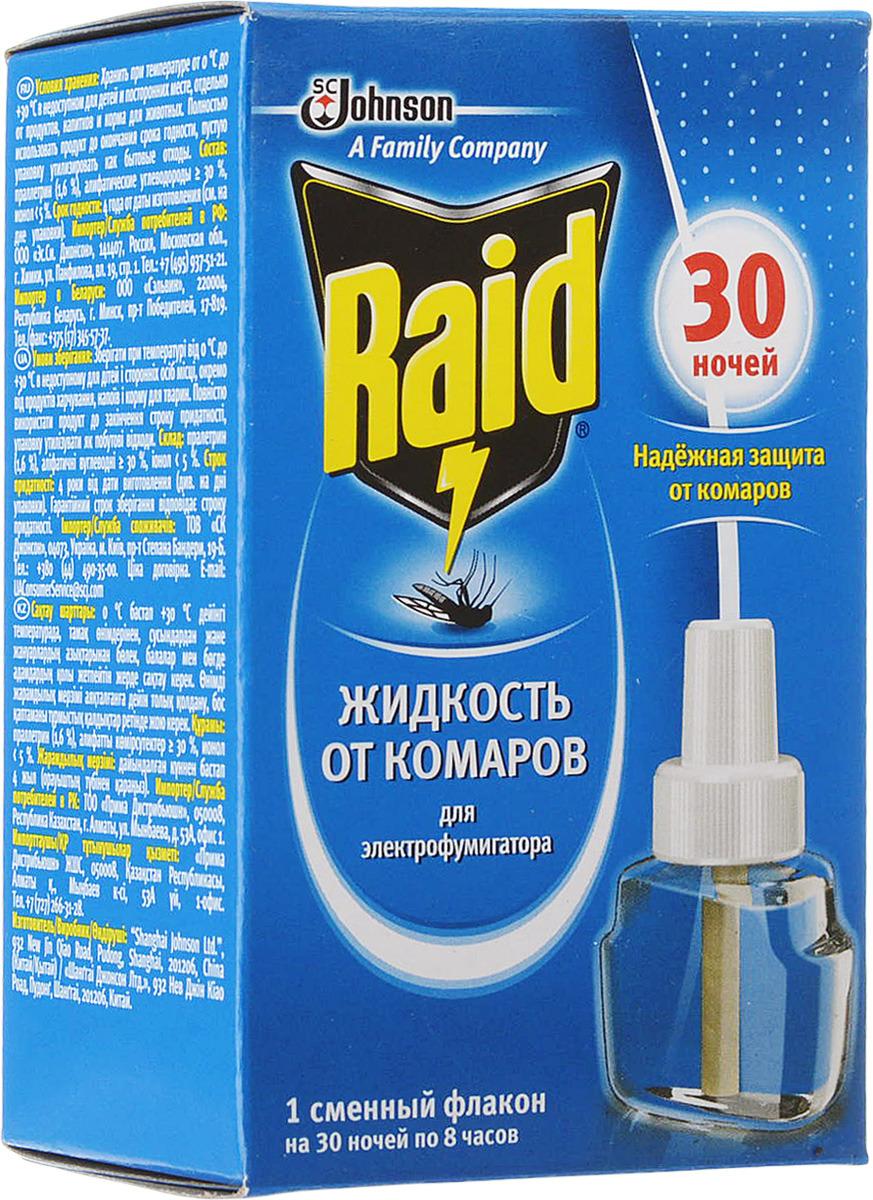 Жидкость для фумигатора от комаров Raid, на 30 ночей, 21,9 мл от комаров в квартире