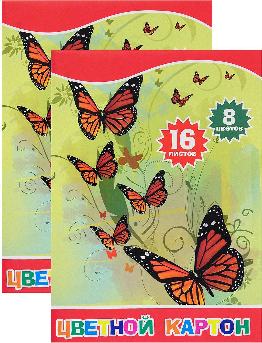 Набор цветного картона Action! Бабочки и цветы, ACC-16/8E/1/2, 8 цветов, 16 листов, 2 шт