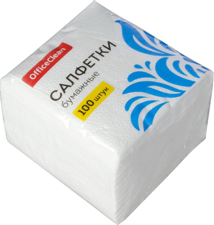 Салфетки бумажные OfficeClean, 234358, белый, 1-слойные, 24 х 24 см, 100 шт paperproducts design салфетки ginza black бумажные 16 5х16 5 см 20 шт 1332162 paperproducts design