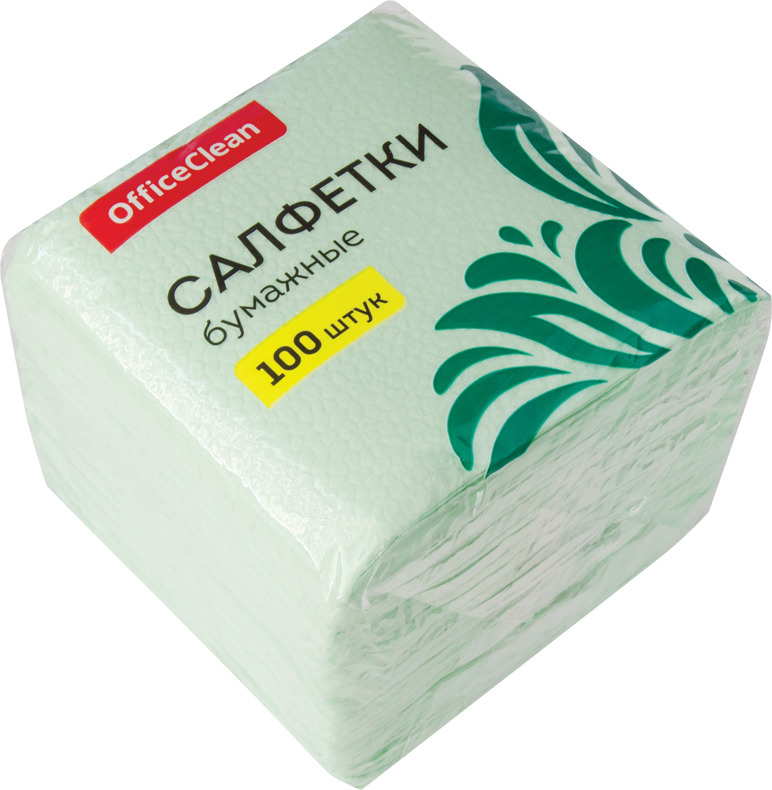 Салфетки бумажные OfficeClean, 255443, зеленый, 1-слойные, 24 х 24 см, 100 шт салфетки бумажные familia радуга 100 шт без отдушки