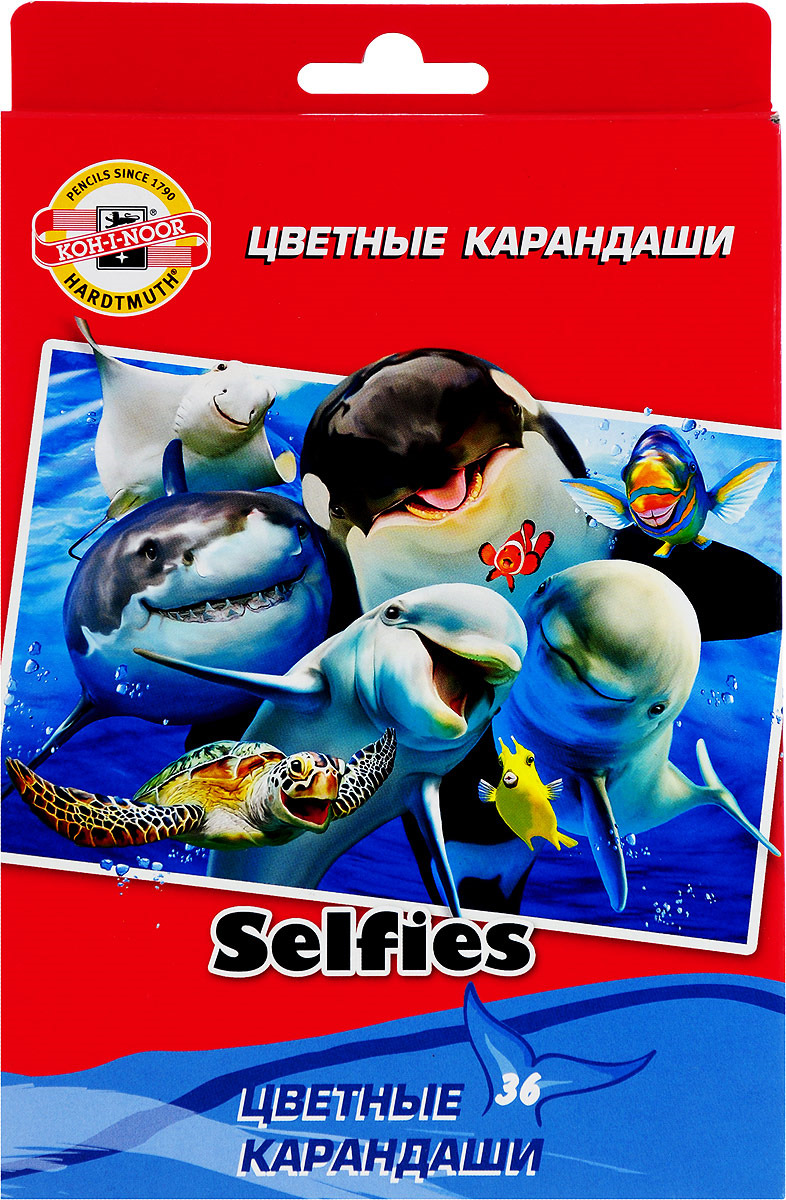 Набор карандашей Koh-i-Noor Selfies, 3555/36 SS KS, 36 цветов набор цветных карандашей koh i noor сафари 36 шт 17 5 см 3555 36 s ks 3555 36 s ks