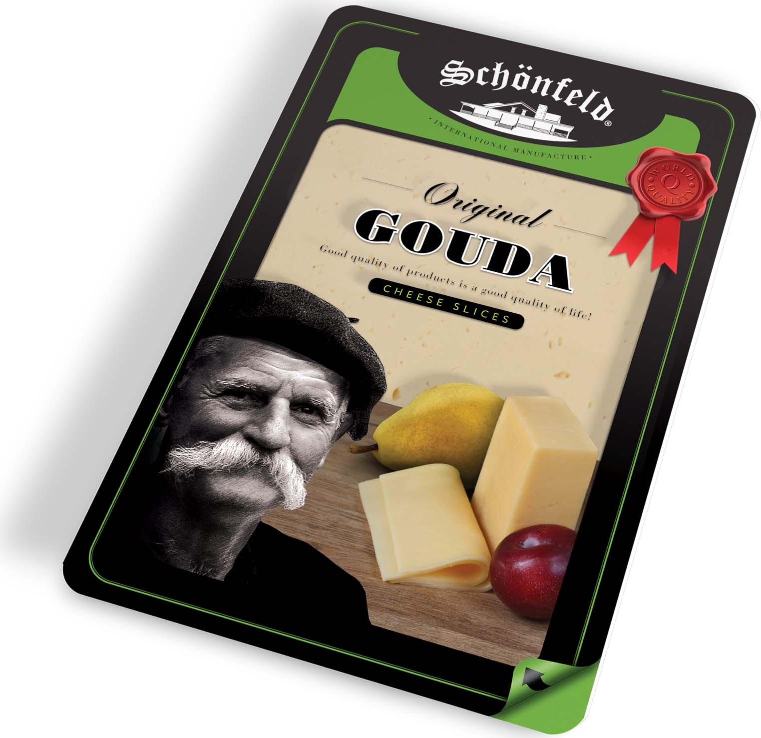Сыр Schonfeld Гауда 45%, нарезка, 150 г