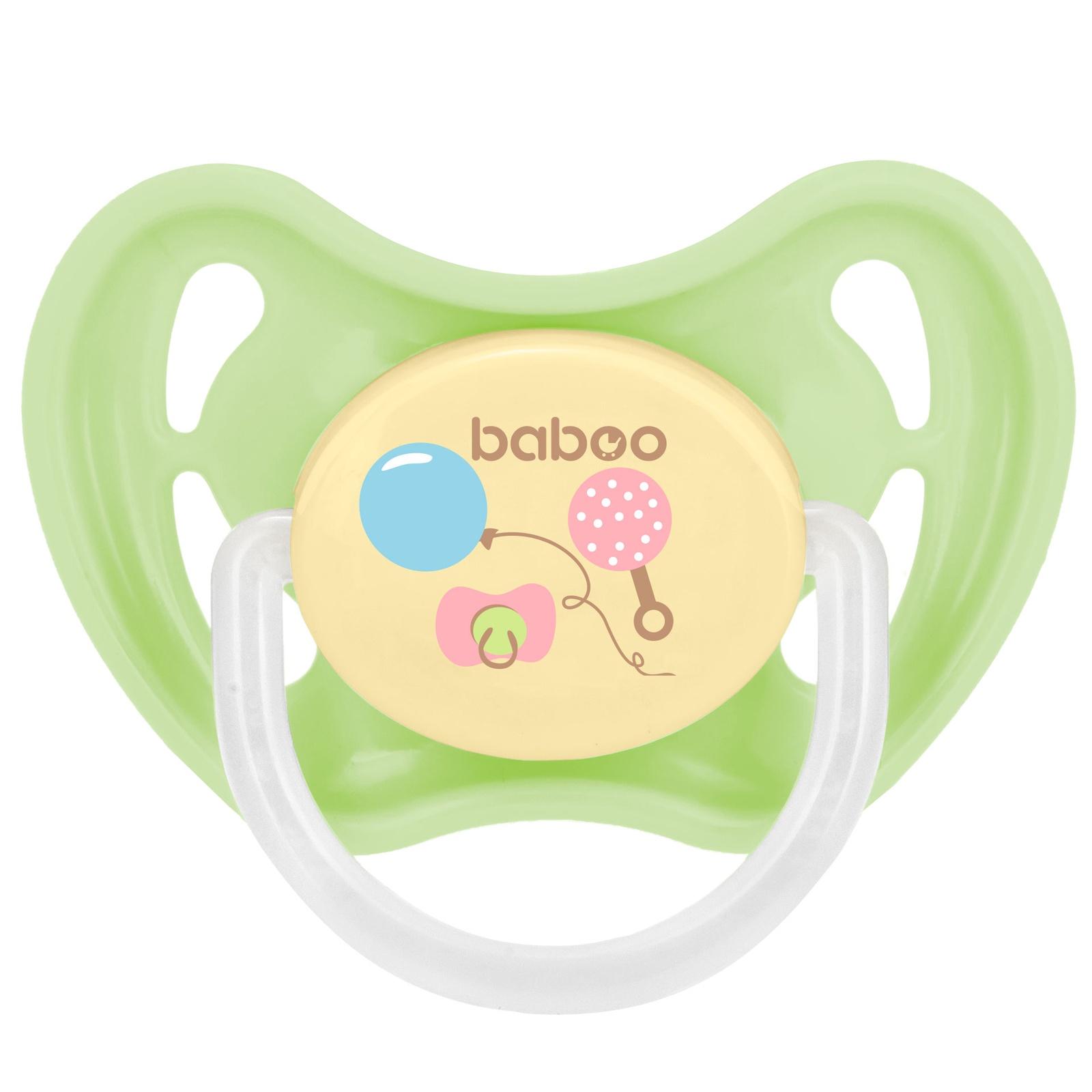 Пустышка BABOO Baby Shower латексная круглая ночная от 6 мес зеленый