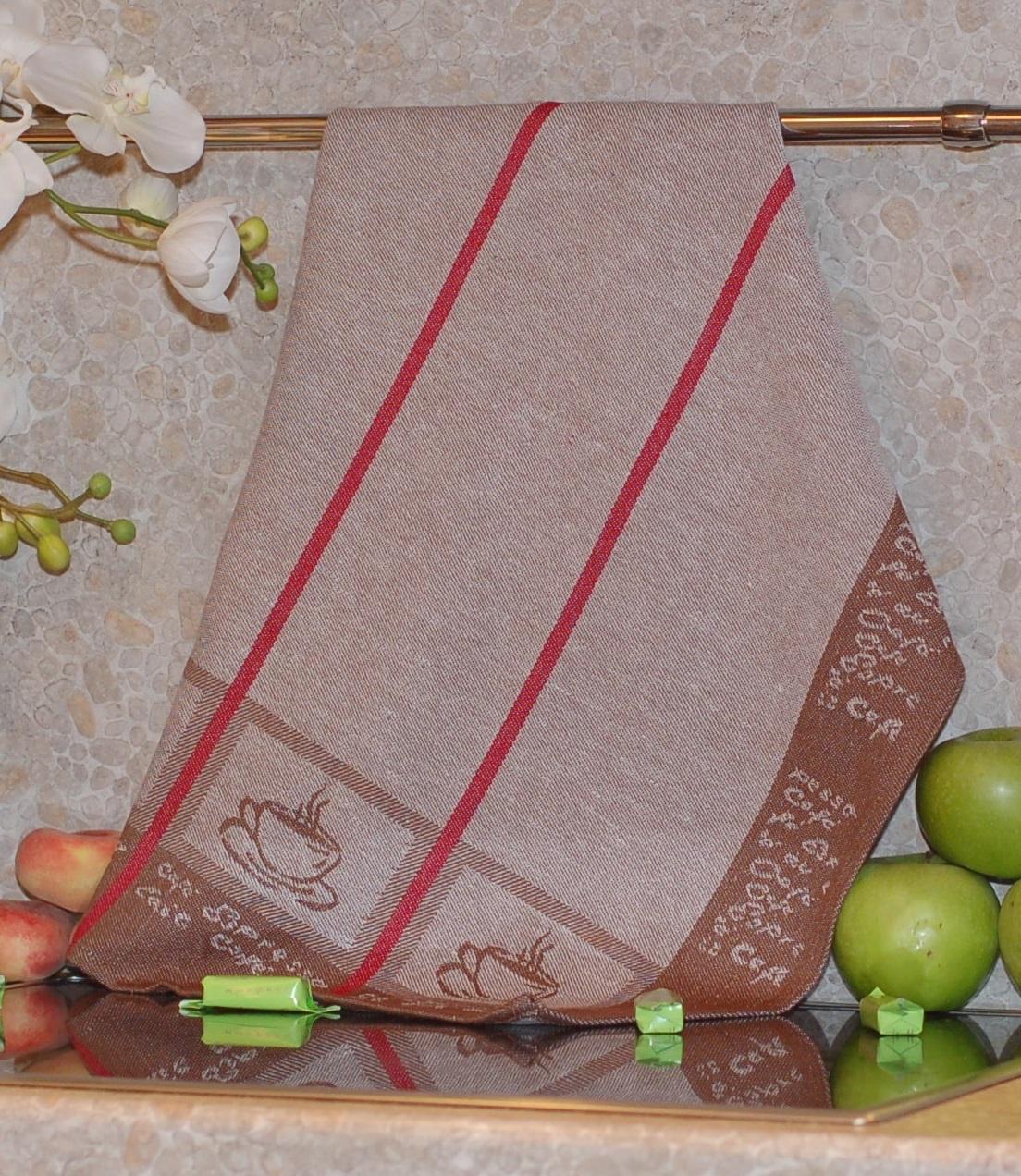 Полотенце жаккардовое ТекСтиль 507061-1 CAFЕ полотенце кухонное текстиль для дома 507061 1 cafе коричневый бежевый красный
