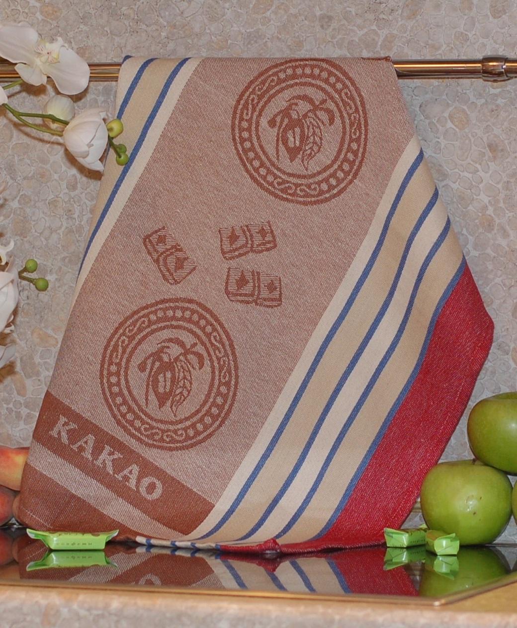 Полотенце жаккардовое ТекСтиль 507061-3 KAKAO полотенце кухонное текстиль для дома 507061 1 cafе коричневый бежевый красный