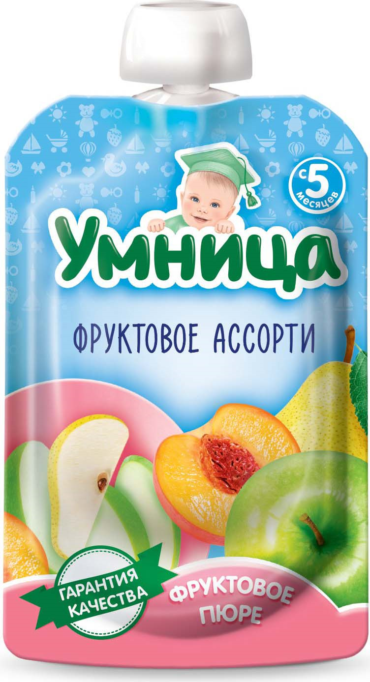 Пюре для детей Умница Фруктовый салатик из яблок, персика, груши, 100 г