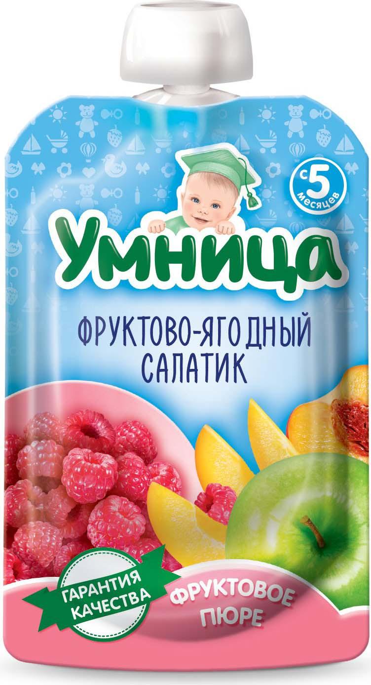 Пюре для детей Умница Фруктово-ягодный салатик из яблок, персика, малины, 100 г