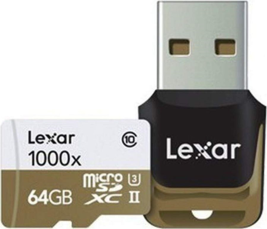 Карта памяти Lexar microSDXC 64GB Class10 1000x UHS-II с адаптером, белый micro sd lexar
