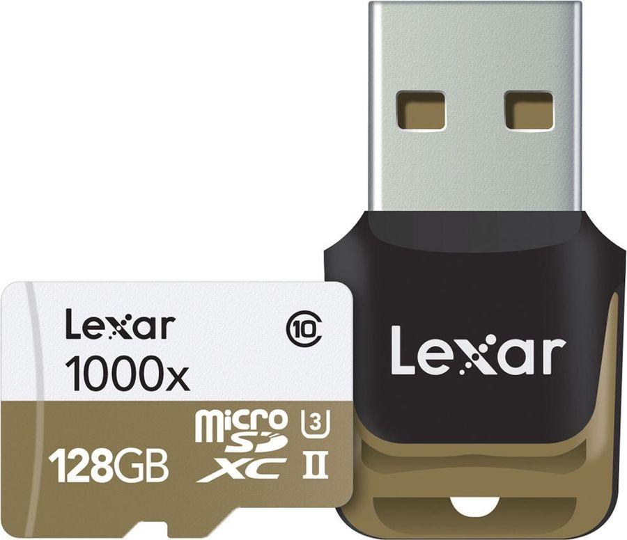 Карта памяти Lexar microSDXC 128GB Class10 1000x UHS-II с адаптером, белый micro sd lexar